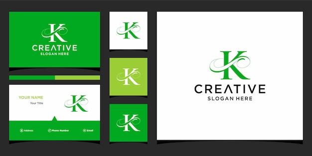 Litera k elegancki projekt logo z projektem wizytówki