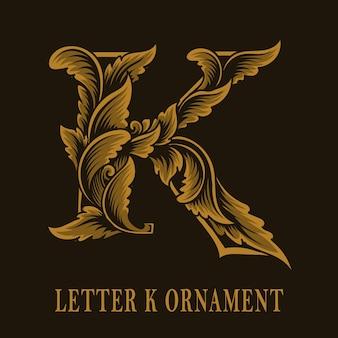Litera k logo w stylu vintage ornament
