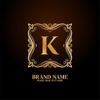 Litera k stylowa koncepcja logo luksusowej marki