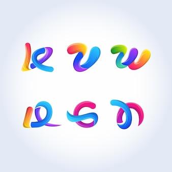 Litera k, v litera, w litera, litera d, g list ikona wektor wzór szablonu