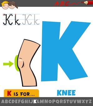 Litera k z alfabetu z częścią ciała kolana kreskówka