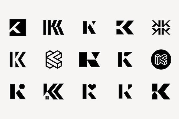 Litera k zestaw typu logo kolekcja