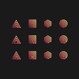 Litera kolekcji logo ustawione w kolorze gradientów