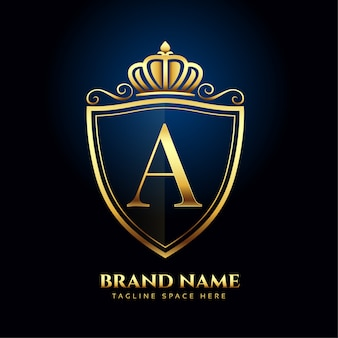 Litera korona złote logo luksusowa koncepcja stylu