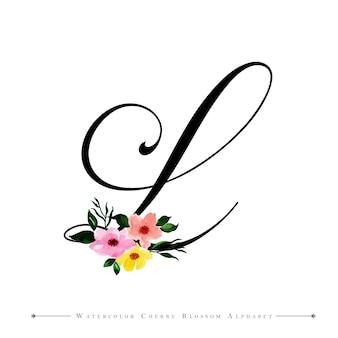 Litera l akwarela kwiatowy tło