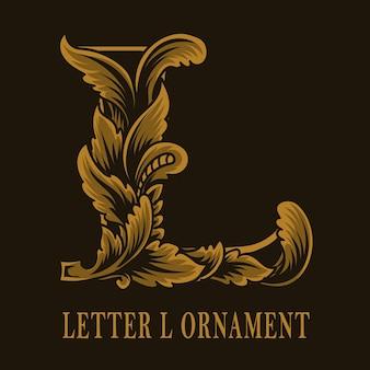 Litera l logo w stylu vintage ornament