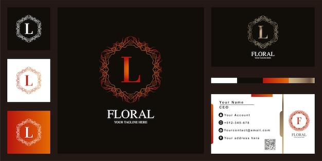 Litera l luksusowy ornament kwiat rama logo szablon projektu z wizytówką.