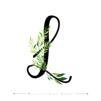 Litera l z akwarela liści tło