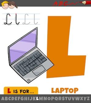 Litera l z alfabetu z laptopem kreskówka