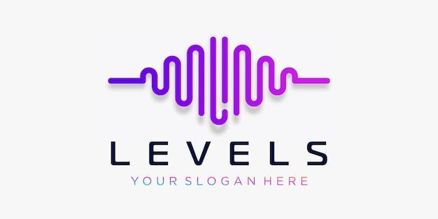 Litera l z pulsem. element fali dźwiękowej. szablon logo