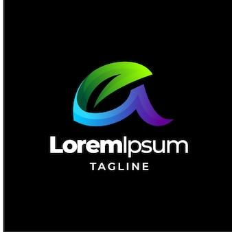Litera liść logo kolorowy szablon projektu gradientu