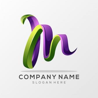 Litera m logo premium vector