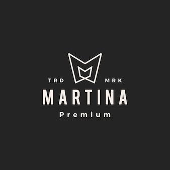 Litera m mm hipster vintage logo