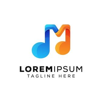 Litera m muzyka logo szablon wektor premium