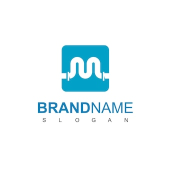 Litera m, szablon projektu logo rury dla symbolu firmy wodno-kanalizacyjnej