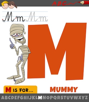 Litera m z alfabetu z postacią z kreskówki mumii