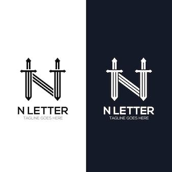 Litera m z inicjałami logo miecza abstrakcyjny luksus
