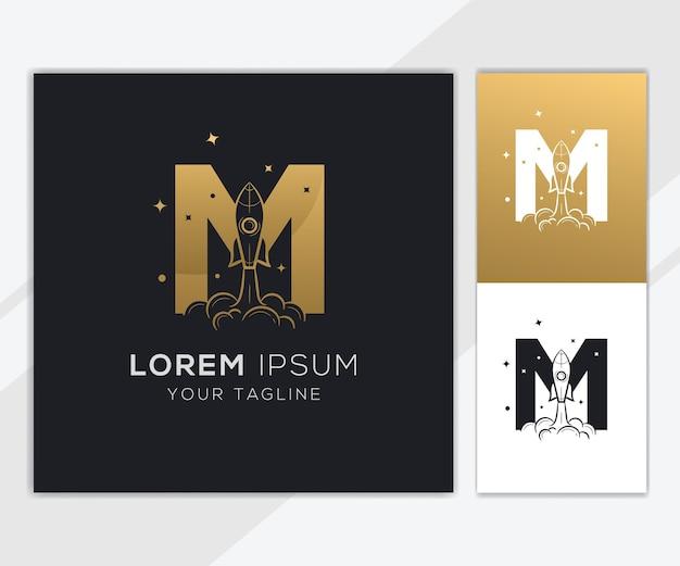 Litera m z luksusowym szablonem logo streszczenie rakiety