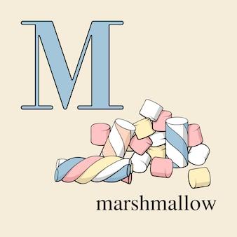 Litera m z prawoślazu. alfabet angielski ze słodyczami.