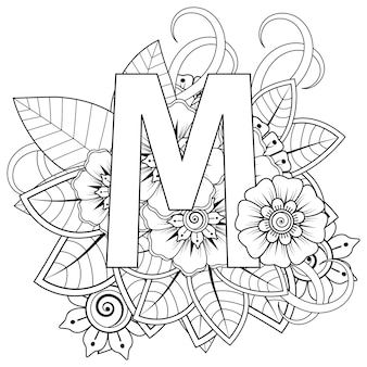 Litera mz ozdobnym ornamentem kwiatowym mehndi w etnicznym stylu orientalnym kolorowanki książki