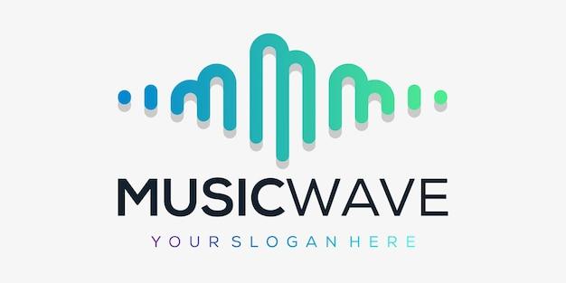 Litera mz pulsem. element odtwarzacza muzyki. szablon logo muzyka elektroniczna, korektor graficzny, sklep, dj, klub nocny, dyskoteka. koncepcja logo fali dźwiękowej,