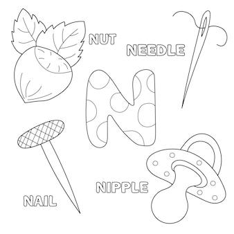 Litera n. alfabetu angielskiego. edukacja dla dzieci. arkusz do kolorowania dla dzieci w wieku przedszkolnym i podstawowym