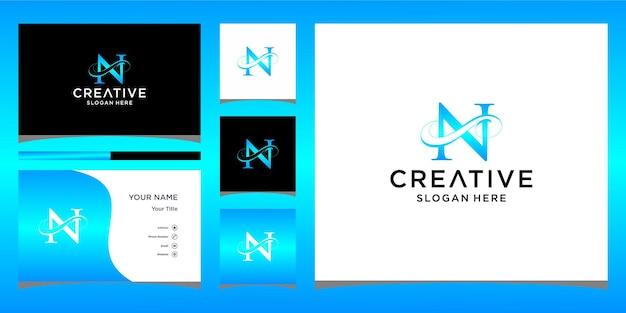Litera n elegancki projekt logo z projektem wizytówki