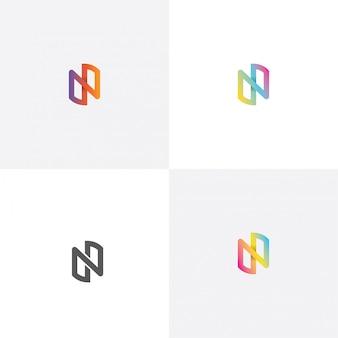 Litera n kolorowe projektowanie logo w innym stylu