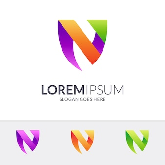 Litera n + logo tarczy