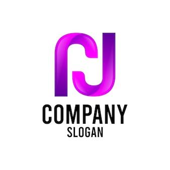 Litera n nowoczesne abstrakcyjne logo