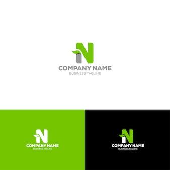 Litera n organic logo szablon