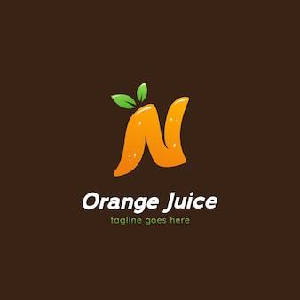 Litera n sok pomarańczowy napój logo ikona szablonu