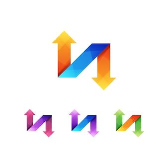 Litera n strzałka logo koncepcja premium wektor