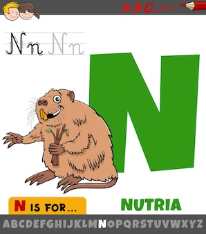 Litera n z alfabetu z charakterem nutrii