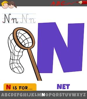 Litera n z alfabetu z obiektem netto kreskówki