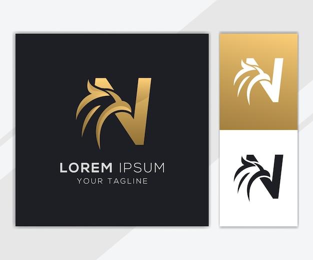 Litera n z luksusowym szablonem logo streszczenie orła