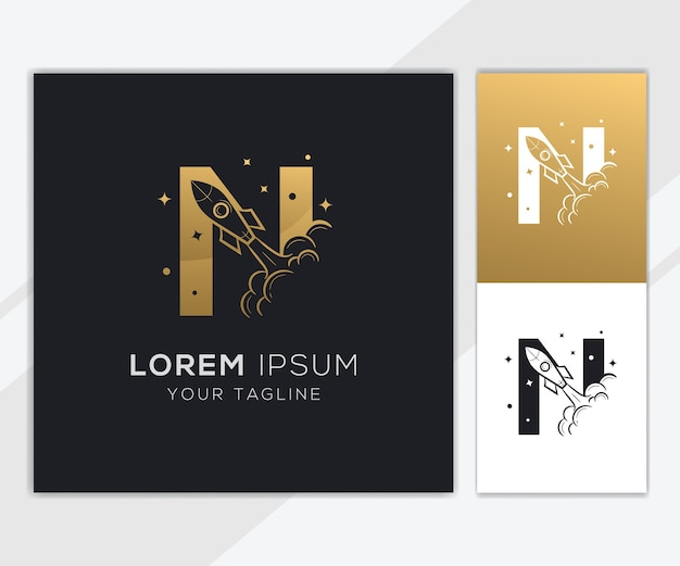 Litera n z luksusowym szablonem logo streszczenie rakiety