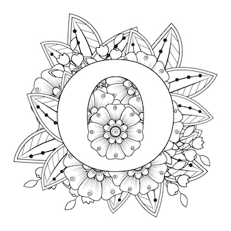 Litera o z ozdobnym ornamentem kwiatowym mehndi w etnicznym stylu orientalnym kolorowanka