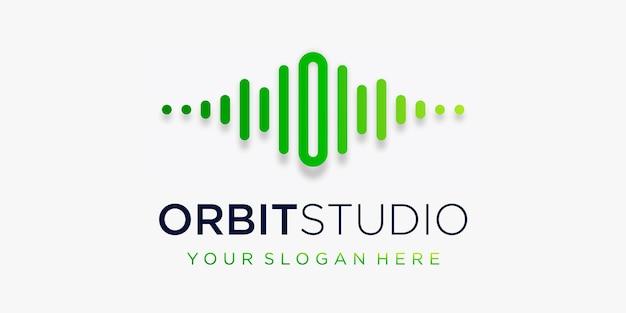 Litera o z szablonem logo elementu fali dźwiękowej pulsu muzyka elektroniczna korektor sklep muzyka dj