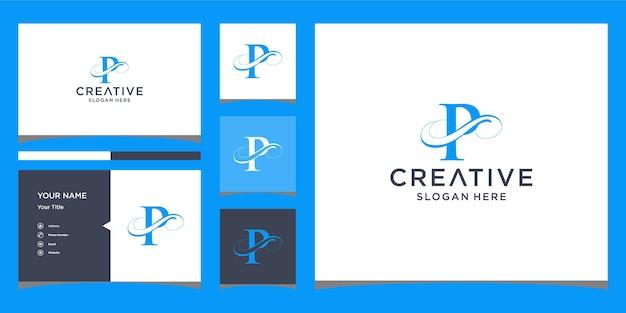 Litera p elegancki projekt logo z projektem wizytówki