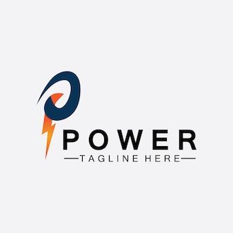 Litera p grzmot moc logo wektor ilustracja projektu