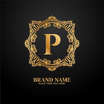Litera p logo złotej luksusowej marki c