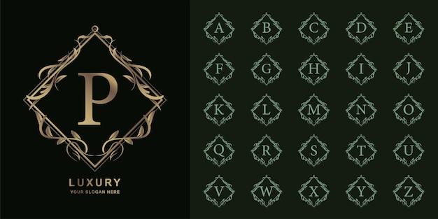 Litera p lub początkowy alfabet kolekcji z luksusowym ornamentem kwiatowy rama złoty szablon logo.