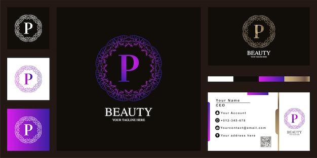 Litera p luksusowy ornament kwiat rama logo szablon projektu z wizytówką.