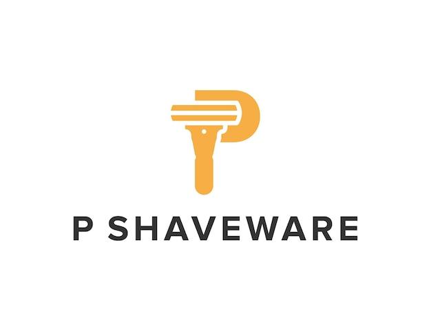 Litera p z golarką prosty elegancki kreatywny geometryczny nowoczesny projekt logo