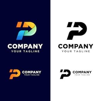 Litera p z logo strzałki dla twojej firmy. logo szybkiej dostawy. szablon logo logistyczne transportu