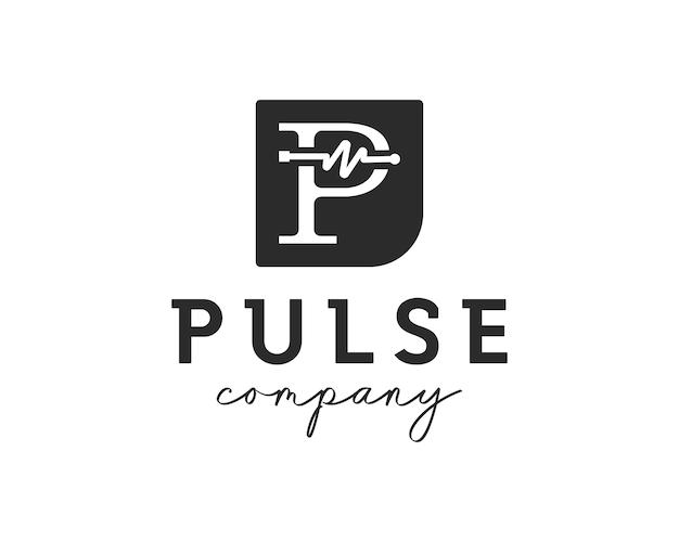 Litera p z symbolem pulsu. szablon projektu logo opieki zdrowotnej