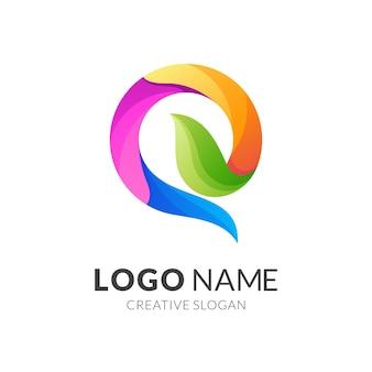 Litera q i projekt logo liścia, nowoczesny styl logo w żywych kolorach gradientu