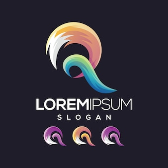Litera q logo gradient kolekcja logo projektowanie