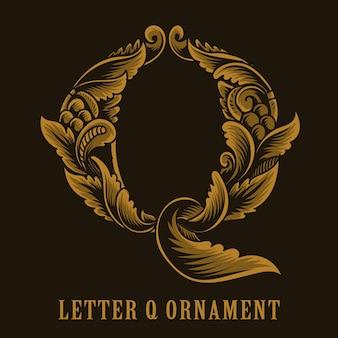 Litera q logo w stylu vintage ornament